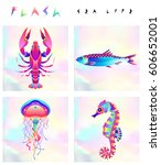 set of multicolored fish and... | Shutterstock .eps vector #606652001