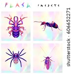 set of multicolored insects... | Shutterstock .eps vector #606652271