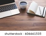 office desk with laptop and... | Shutterstock . vector #606661535