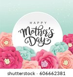 mother's day greeting card with ... | Shutterstock .eps vector #606662381