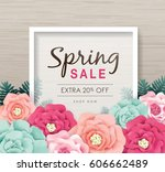 spring sale poster with... | Shutterstock .eps vector #606662489