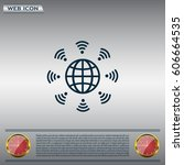 earth of wi fi  vector icon | Shutterstock .eps vector #606664535