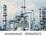refinery oil and gas industry ... | Shutterstock . vector #606665621