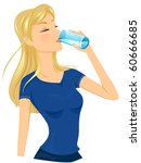 a fit lady drinking a glass of... | Shutterstock .eps vector #60666685