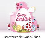 happy easter day concept on... | Shutterstock .eps vector #606667055