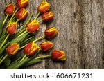bouquet of colorful red yellow... | Shutterstock . vector #606671231