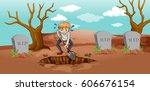 scene with man digging hole in... | Shutterstock .eps vector #606676154