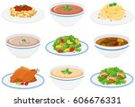 assorted dinner plates on white | Shutterstock .eps vector #606676331