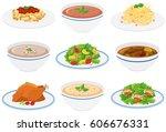assorted dinner plates on white   Shutterstock .eps vector #606676331
