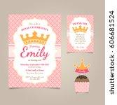princess birthday invitation | Shutterstock .eps vector #606681524