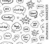 hand drawn set of speech... | Shutterstock .eps vector #606682535