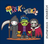 three boys with costumes going... | Shutterstock . vector #60668314