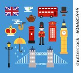 united kingdom england typical... | Shutterstock .eps vector #606685949