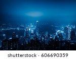 view of victoria harbor in hong ... | Shutterstock . vector #606690359