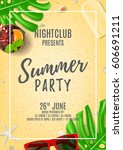 summer party poster with place... | Shutterstock .eps vector #606691211