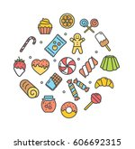 sweets and bakery round design... | Shutterstock .eps vector #606692315