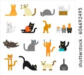 various cute cats pose act... | Shutterstock .eps vector #606692495