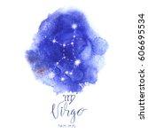 astrology sign virgo on blue... | Shutterstock .eps vector #606695534