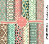 set of seamless vector... | Shutterstock .eps vector #606698657