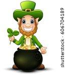 cartoon leprechaun with pot of... | Shutterstock . vector #606704189