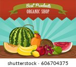 organic shop poster with fruit... | Shutterstock .eps vector #606704375
