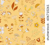 vector floral pattern. colorful ... | Shutterstock .eps vector #606710261