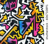 graffiti seamless pattern with... | Shutterstock .eps vector #606710891