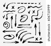 set of different grunge brush... | Shutterstock .eps vector #606710999