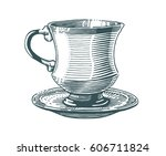 hand drawn tea cup illustration ... | Shutterstock .eps vector #606711824