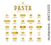 set of icons varieties of pasta.... | Shutterstock .eps vector #606713225