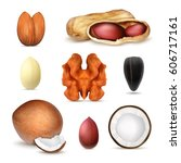 nuts. vector icons set. eps10 | Shutterstock .eps vector #606717161