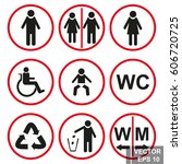 toilet signs. pointer. man.... | Shutterstock .eps vector #606720725