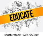 educate word cloud  education...   Shutterstock .eps vector #606722609