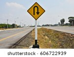 u turn ahead sign in the middle ... | Shutterstock . vector #606722939