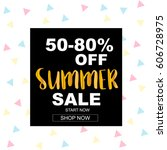 summer sale banner with... | Shutterstock .eps vector #606728975