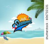 summer logo  summer time  enjoy ... | Shutterstock .eps vector #606732131