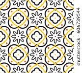 azulejos black and white... | Shutterstock .eps vector #606739544