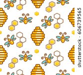 vespiary and bees seamless... | Shutterstock .eps vector #606739565