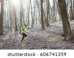 runner is running through misty ...   Shutterstock . vector #606741359