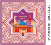 ramadan greeting card with the... | Shutterstock .eps vector #606742157