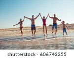 group of people having fun at... | Shutterstock . vector #606743255