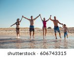 group of people having fun at... | Shutterstock . vector #606743315