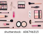 fashion cosmetic makeup set.... | Shutterstock . vector #606746315