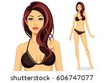 beautiful stylish model... | Shutterstock .eps vector #606747077
