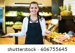 young satisfied  shopping... | Shutterstock . vector #606755645