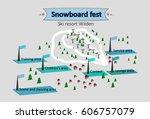 isometric map ski resort | Shutterstock . vector #606757079