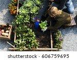 family picking vegetable from... | Shutterstock . vector #606759695