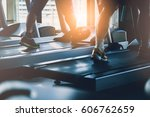 people workout with treadmill... | Shutterstock . vector #606762659