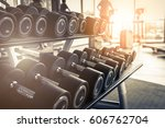 rows of dumbbells in the gym... | Shutterstock . vector #606762704
