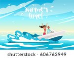 young beautiful couple in love... | Shutterstock .eps vector #606763949